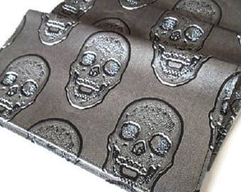 Porte chéquier tête de mort en simili cuir