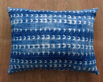 "African Indigo Mudcloth Pillow Cover,  Vintage Pillow Cover for 16"" x 20"" Pillow Inserts"