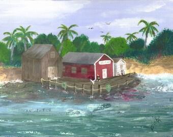 Florida Art, Fishing Piers, Buildings, Water Scenes, Beaches, Palm Trees, Fishing Villages, Docks, 8 x 10 Art Print