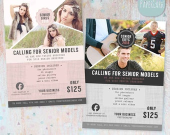 Senior Photography Marketing Session - Photoshop Template  - IS007- INSTANT DOWNLOAD