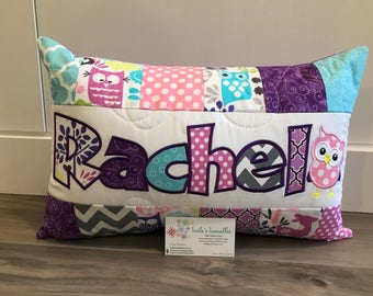 Pink, purple, turquoise Owls, children's personalized pillow case, woodland, 12x18 inches