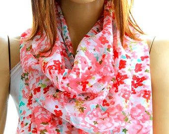 red white floral scarf, floral shawl, red white floral scarves, Women Scarf, Cute scarf, Scarves, Gift ideas, Accessories, summer scarves
