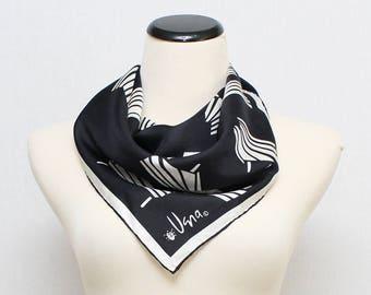 Op Art Silk Vera Scarf - Vintage 1970s Black and White Vera Neumann Scarf
