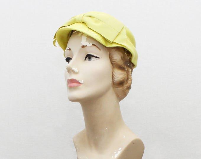 Vintage 1950s Yellow Short Brim Bow Hat