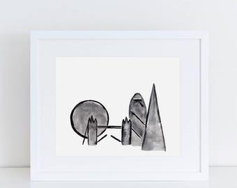 London Silhouette Art Print // London illustration, London prints, home decor, London gift, London landmark, watercolor painting