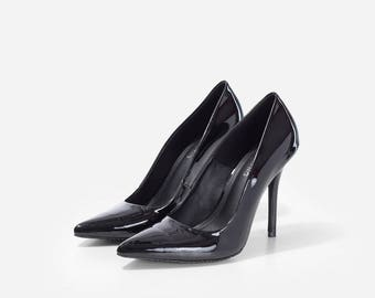 Charlize Patent Black Pointy Red Heels, Pointy Toe Heels, Classic Pointy Toe, Black Heels, Court Shoes