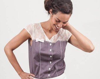 purple with white polka dot and lace blouse