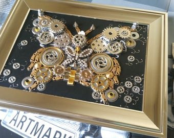 Steampunk Butterfly Code 129, Clock parts, Steampunk Gifts, Butterfly collage, Butterfly jewellery, Butterfly necklace, Car lovers, Tshirt