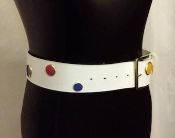 Shop closing Vintage white belt white polka dot belt pink blue turquoise yellow belt size small medium