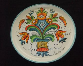 Swedish Traditional Painted Plate, Dalmålning Style, Dalecarlian, Vibrant Colors