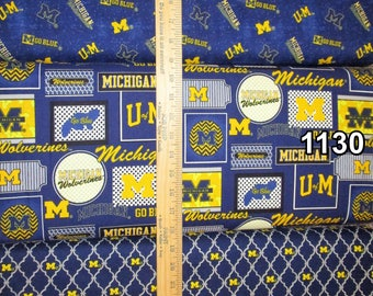 NCAA University of Michigan Wolverines Blue & Gold College Logo Cotton Fabric by Sykel! 17 Choices [Choose Your Cut Size]