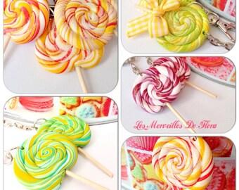 Keychain lollipop polymer clay, (choice of color)