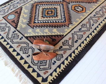 Vintage Kilim Area Rug Wool 1970's Handtufted Rug Southwestern Brown Orange Blue Gray Medium High Pile Rug
