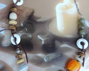 "Crystal healing necklace jewelry ""Spiritual evening"" Kenya labradorite, agate frosted bone and Horn Kenya"