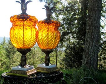 Pair of Amber Glass Accent Table Lamps on Marble Bases - Large Amber Glass Lamps