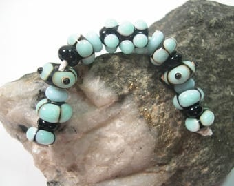 Handmade  Lampwork  Blue Turquoise and Black  Beads, Lampwork Glass Beads, 9 Artisan Lampwork Beads, B87.