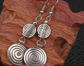 2set vintage Tibetan style Miao silver metal dangle earrings ,New Chinese wind old fashioned jewelry free delivery