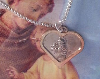 St Anthony Medal Necklace, Saint of Miracle Charm, Religious, Heart