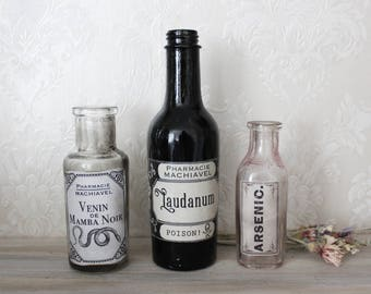 Poison . set of 3 vintage bottles with apothecary labels laudanum venom & arsenic pagan witchcraft gothic decoration .