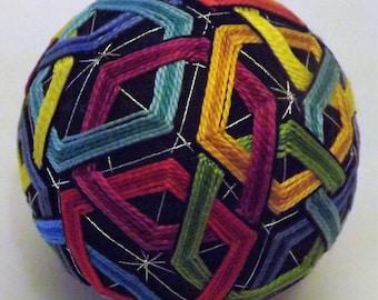 Japanese Temari Ball multicolor interlocking pentigans