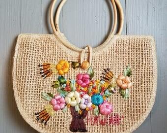 70s Straw Beach Bag Purse Hawaii Floral Boho Aloha Bamboo Handle
