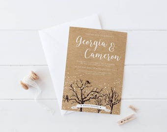 DIY Printable White Winter Forest Wedding Invitation | Details | RSVP | Save the Date + More Available on Request