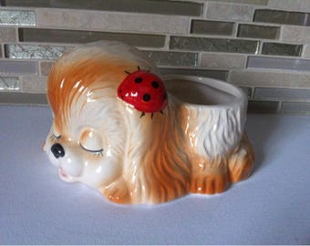 Orange and White Dog Puppy Ceramic Planter Pot with Red Ladybug. Home decor.