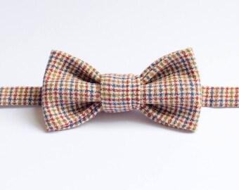 Handmade Bow Tie - Cream Houndstooth