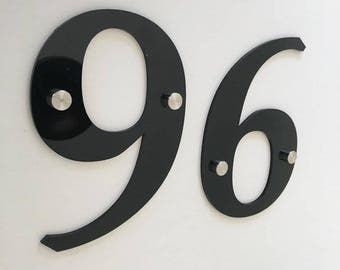 Book Font, Drilled Finish, House/Shop/office Names and Numbers with fixings - Several Colours and Sizes