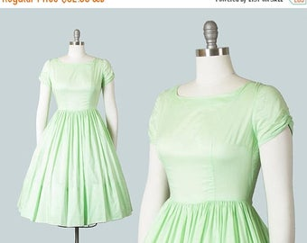 20% OFF SALE Vintage 1950s Dress | 50s Mint Green Cotton Fit and Flare Full Skirt Day Dress (small)
