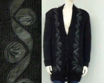 Vintage 80s Plus Size Black Mohair Cardigan Sweater, Leather Appliques, Oversized Cardigan, Grandpa Cardigan, Wool Cardigan, Fuzzy Cardigan