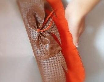 Orange brown clutch, leather, knot, fantasy, spring