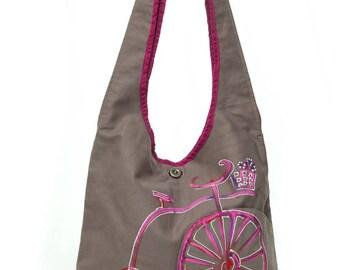 Painted gray pink bike Messenger bag, fall fashion