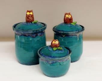 Wild Blue Fire Turquoise Ceramic Kitchen Canister Set with Owls