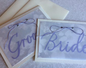 Wedding vow card set, Bride and Groom card set of 2, Vow card set