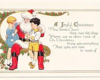 Visiting with Santa Claus Christmas Postcard, c. 1920