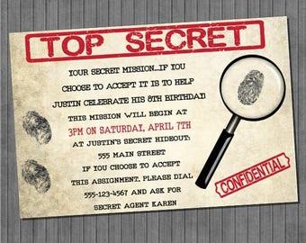 FLASH SALE Top Secret Spy Invitations
