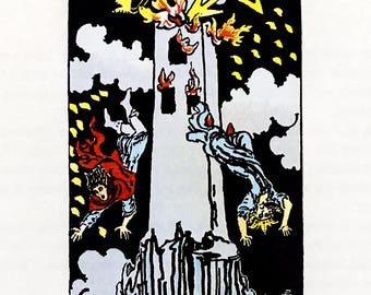 Tarot Card / Illustration / The Tower / 1989 / Wall Art / Home Decor / nursery art