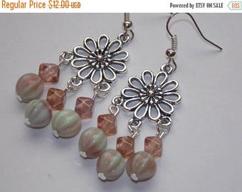 15%OFF Light Green and Blush Czech Glass Flower Chandelier Earrings