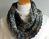 Infinity Scarf Hand Knit Thick & Chunky Black Gray Charcoal Brown Mocha