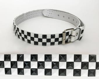The Checkered Flag Vintage 80s Belt Studded White Genuine Leather Hip Belt Abstract Geo Oversized Diamond Sequins Accessories