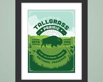 Tallgrass Prairie - Tallgrass Prairie National Preserve Art Print, 12x16, Flint Hills, Kansas