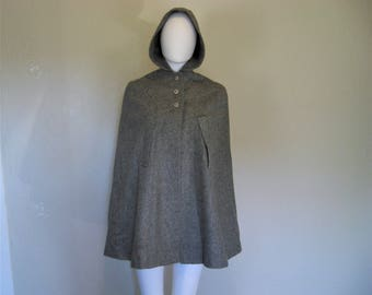 Vintage Grey Wool hooded Cape