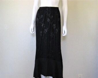 ON SALE Long Black Cherry Blossom demask Skirt