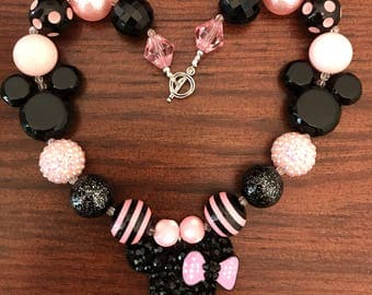 Minnie Mouse Head Light Pink and Black Bubble Gum Necklace - 3 Styles (Child/Toddler)