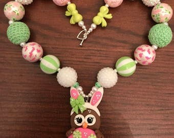 Easter Owl Dressed as Bunny and/or Decorated Chicolate Egg Bubble Gum Necklace (Child/Toddler)