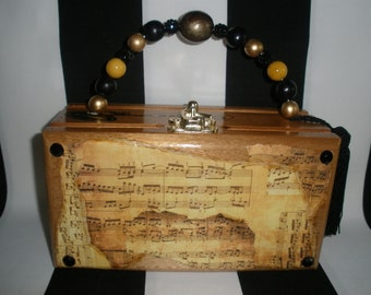 Vintage Sheet Music Cigar Box Purse, Cigar Box Handbag, Authentic, Tampa