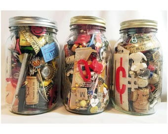 Junk Jar, Collection of Vintage Pieces, Parts, Treasures & Memorabilia, Miscellaneous Junk Drawer Lot