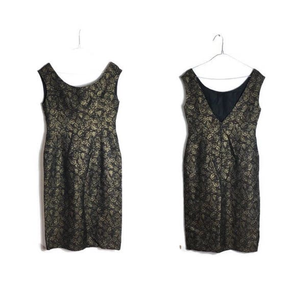 Black gold brocade dress // 60s cocktail dress // black and gold 60s dress // vintage christmas frock // vintage party dress // size 10