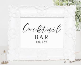 Cocktail Sign Wedding, Bar Menu Printable, Bar Menu Sign Wedding, Bridal Shower Sign for Wedding Reception, Cocktail Menu Template, WP007_13